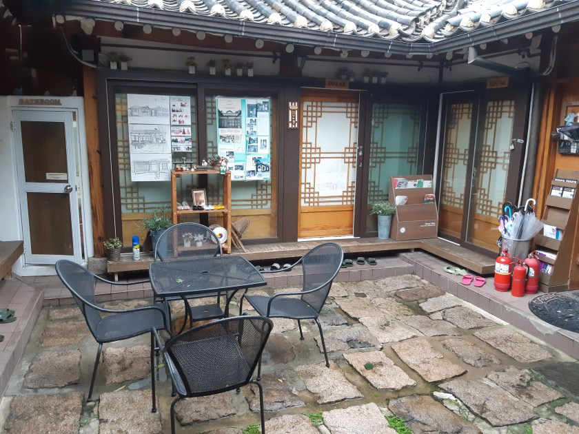 Courtyard of a hanok guesthouse in Seoul