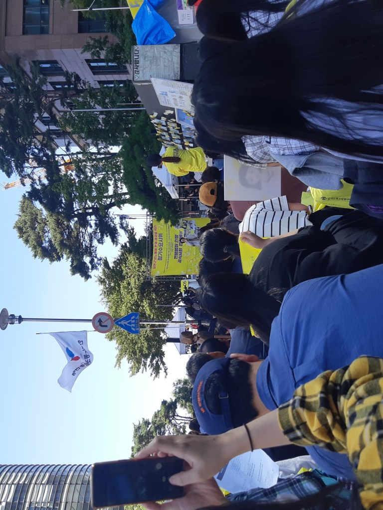 Weekly comfort women protest outside the Japanese embassy in Seoul.