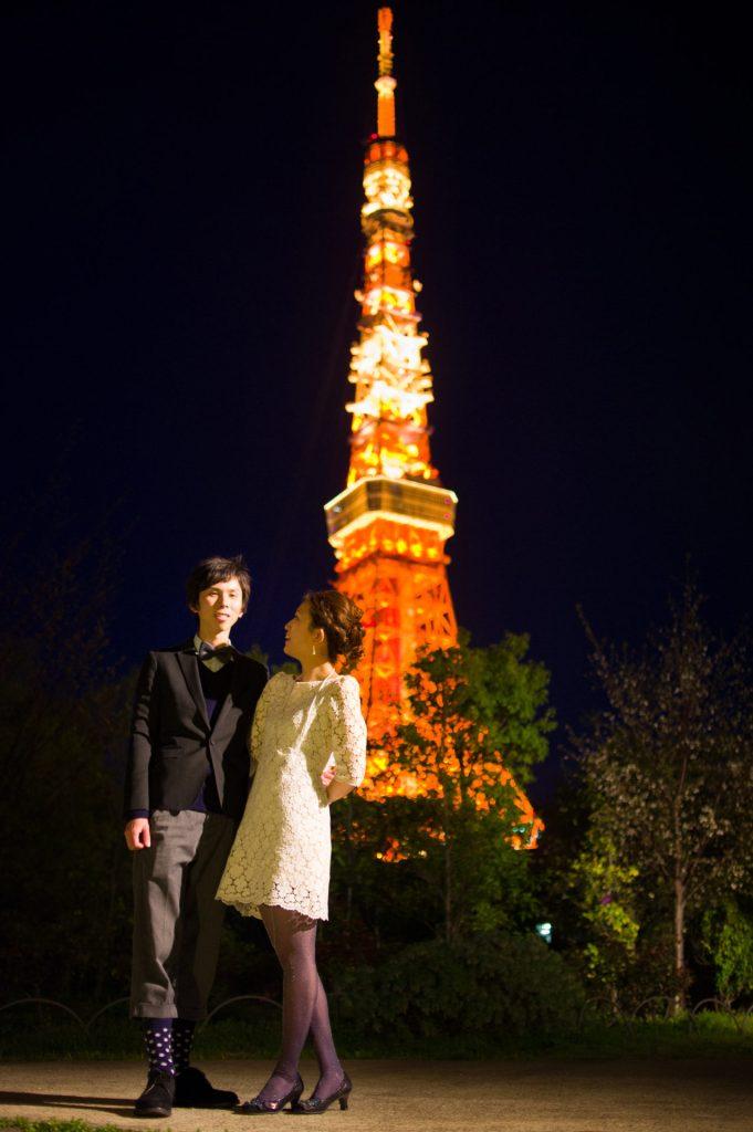 エンゲージメントフォト-東京タワー夜景撮影