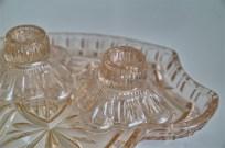 ガラス製 ドレッサーセット トレーとキャンドルホルダー×2 2