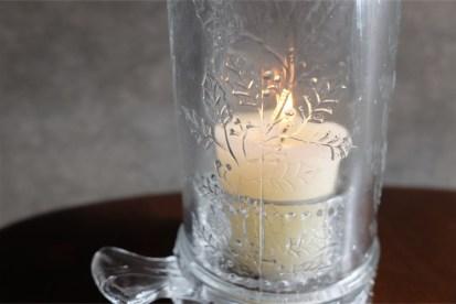 アメリカ MOSSER GLASS (モッサーグラス)製 キャンドルホルダー ヒイラギ柄 10