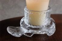 アメリカ MOSSER GLASS (モッサーグラス)製 キャンドルホルダー ヒイラギ柄 9