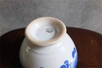 アンティークカフェオレボウル その49 フランス Luneville(リュネヴィル)製 リュネヴィルKGボウル 1920年代 青いチェリー柄