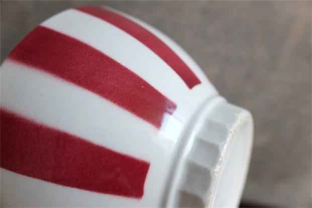 カフェオレボウル その40 3のNo.プリントあり 赤のストライプ柄