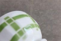 アンティークミニカフェオレボウル その21 Lunevilleリュネヴィル(刻印なし) グリーンの#柄 No.6のプリントあり