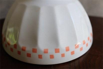 アンティークカフェオレボウル その55 Lunevilleリュネヴィル(刻印なし) ピンクオレンジのチェック柄 No.3のプリントあり