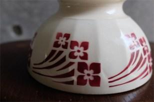 アンティークカフェオレボウル その60 えんじ色の赤の花プリント MOULIN DES LOUPS HAMAGE製 1920年代