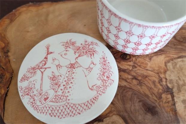 Praline プラリネ(チョコレート)キャニスター デンマーク ニモール窯 ビョルンビンブラッド(Bjorn Wiinblad)デザイン 赤色