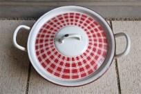 フランス アンティークホーロー 蓋つきお鍋  BB社 赤いチェック柄