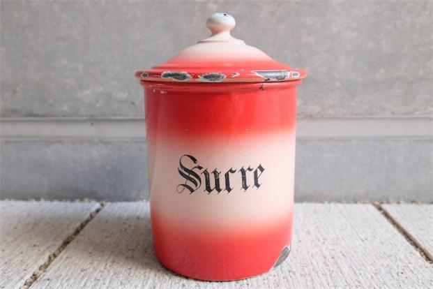 フランス製 Sucre(砂糖)入れ アンティークホーローのキャニスター 朱赤色