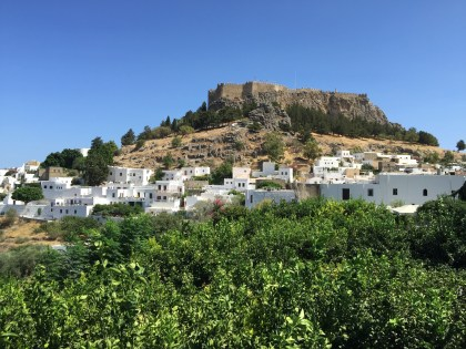 Lindos, view of the Akropolis and town.