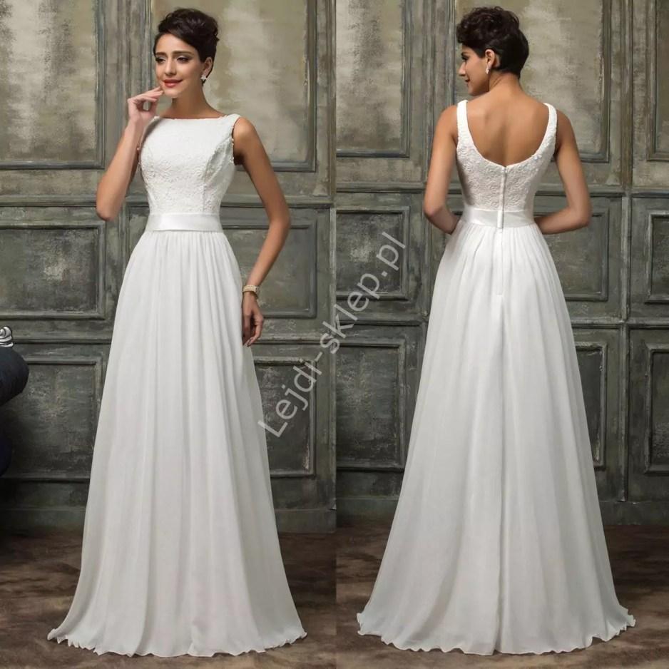 Skromna suknia ślubna z gipiurową koronką Lejdi