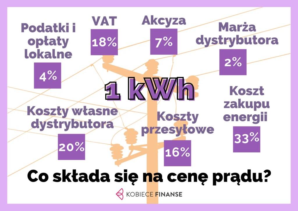 Co składa się na cenę 1 kWh prądu?