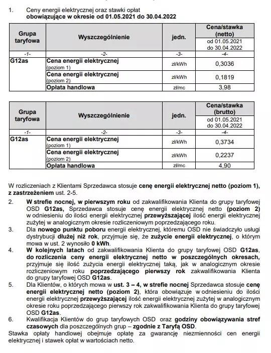 Tauron taryfa G12as warunki