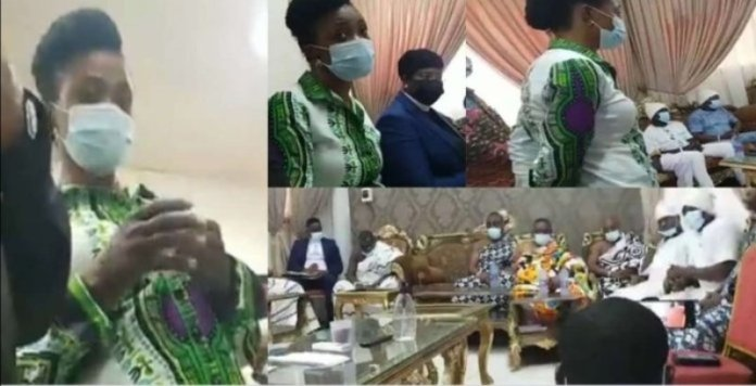 Diana Asamoah Bows Before The Ga Customary Board After She Was Brought - Video