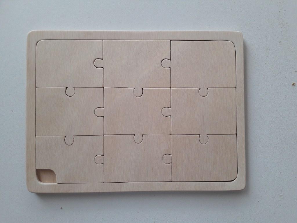 puzzle en bois de 9 pièces-vierge-à personnaliser-fait main-à peindre ou pour imprimer photo ou dessin.