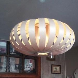 suspension SHR65 grande dimension de luminaire en lames de bois,