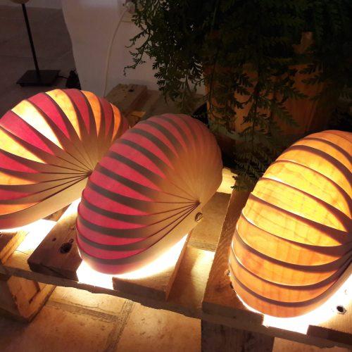 Ensemble 3 lampes jaune-rouge-mixe lampes à poser ambiance-modulables