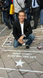Hugh Howey and his star on the Author Walk of Fame