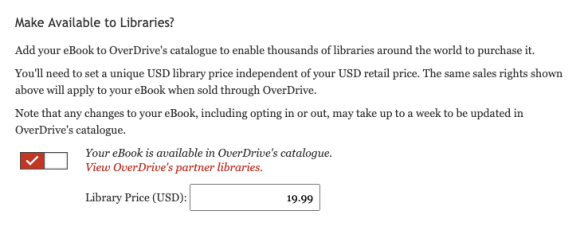 A screencap of the Library portion of the KWL eBook creation tool, with OverDrive toggled on, and a library price of $19.99 entered.