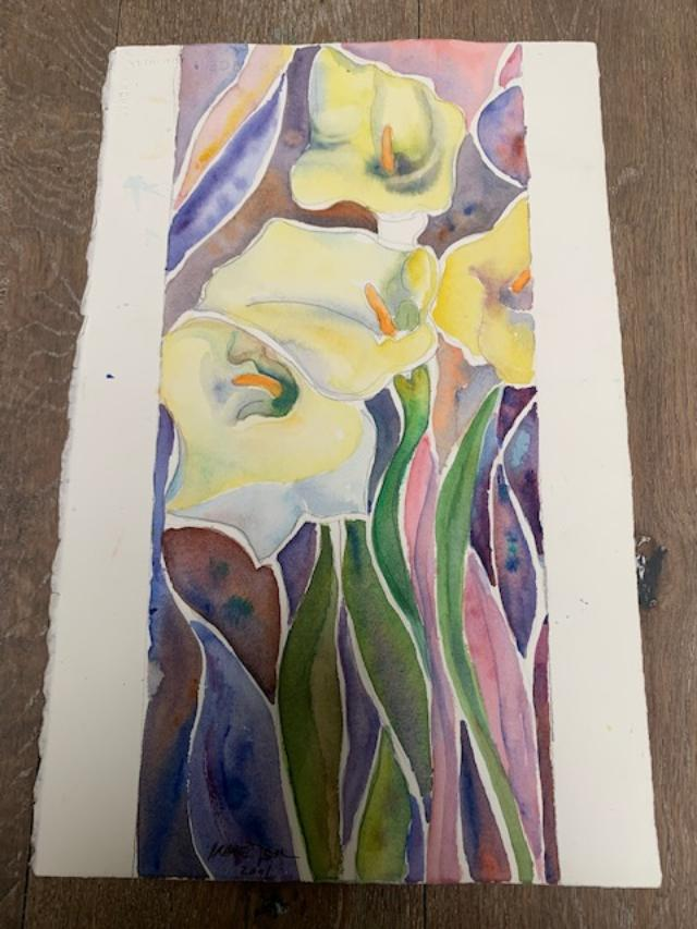 A watercolour painting by Irene Tsu titled Easter Lilly, containing three white lilies with a colourful background.