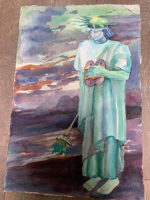 A watercolour painted by Irene Tsu called Liberty Fallen. The Statue of Liberty looks downcast, holds her shoes in one hand, her torch in the other.