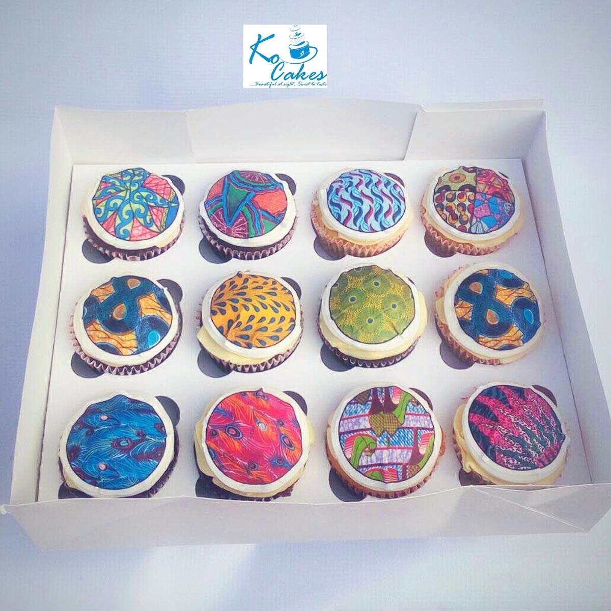 Ankara Themed Cupcakes