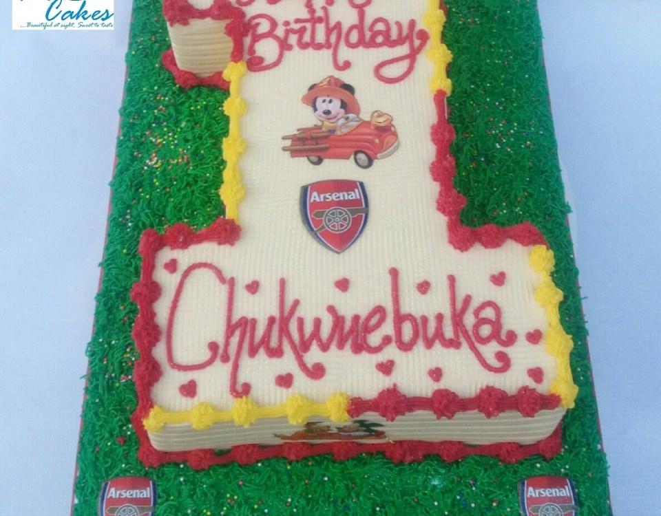 Arsenal Themed No 1 Birthday Cake