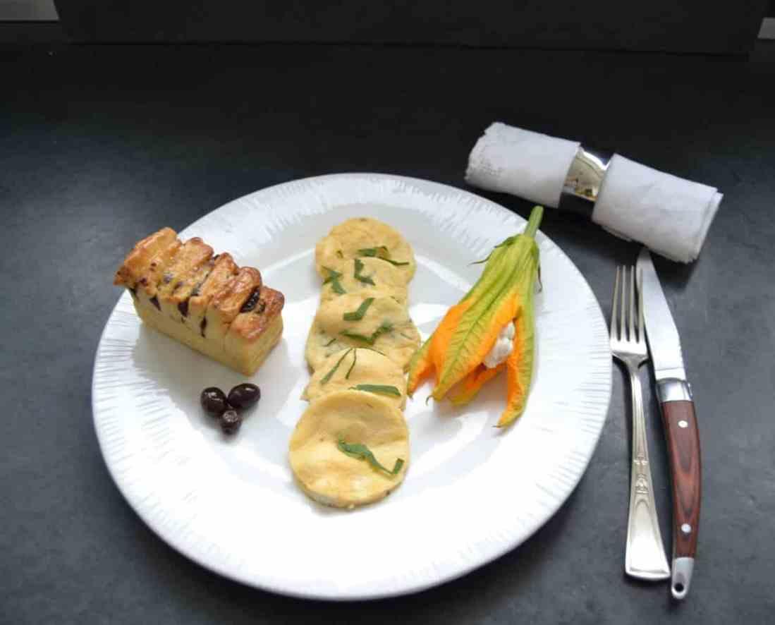 omelette-auf-korsische-art-mit-brocciu-und-minze-Brioche und gefüllter Zucchiniblüte kochen-aus-liebe