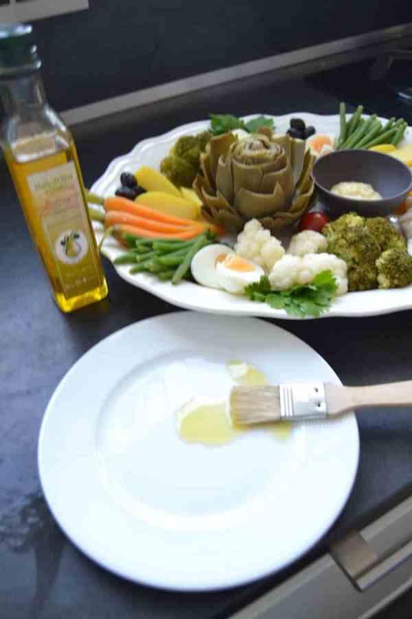 Bohnen , Möhren , Blumenkohl , Broccoli , Artischocke , Olivenöl