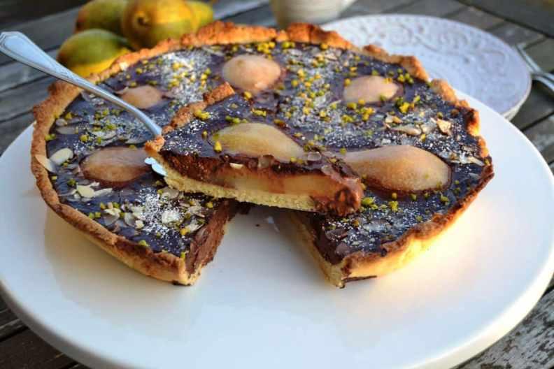 birnen-schokoladentarte-mit-mandeln-kochen-aus-liebe