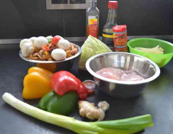 Hähnchenfilet , Paprika, Ingwer, Pilze , Chinakohl
