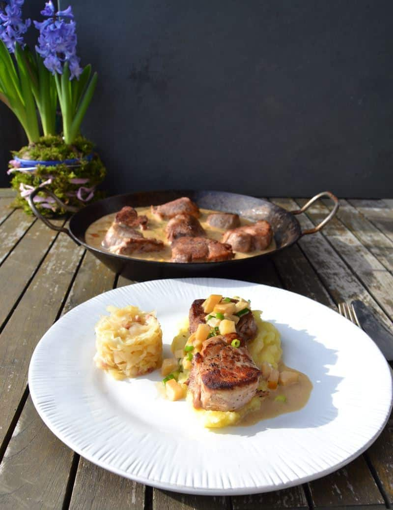 Schweinefilet in Apfel Calvados Sauce
