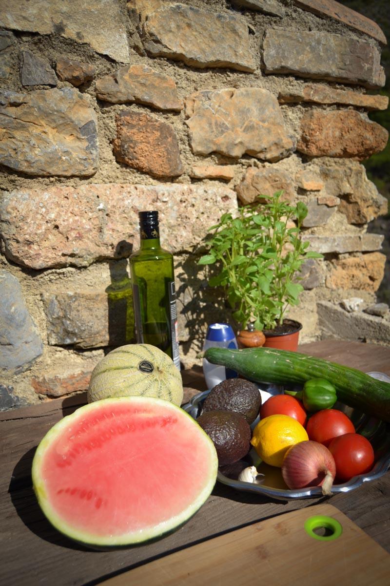 Melone, Gurke , Avocado und Feta Melone, Gurke , Avocado und Feta für Melonensalat