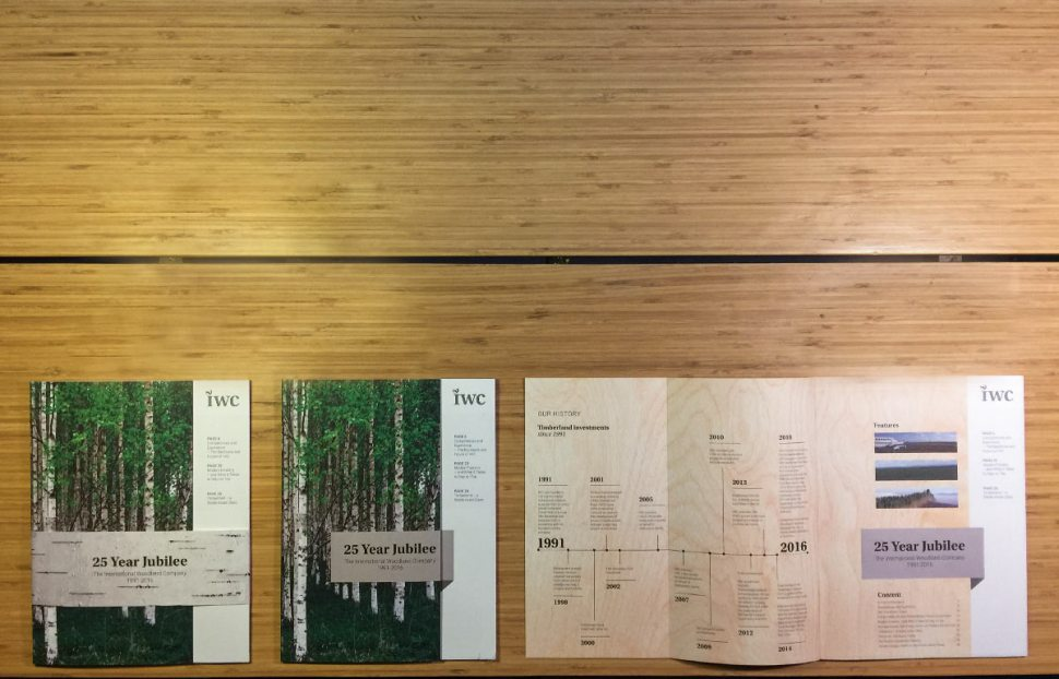 """A display of Magasin with banderole of """"birch bark"""", Cover of magasin, inside cover spread with timeline."""