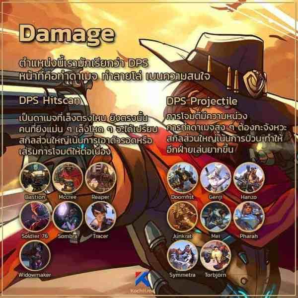 ตำแหน่งหน้าที่ในเกม overwatch Damage
