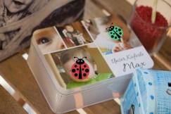 Viel Platz für Fotos bietet die gestaltete Blechdose.