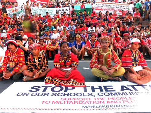 As hundreds of thousands of UP student activists have done in decades, the Lumad sit in front of Palma Hall for a protest action.