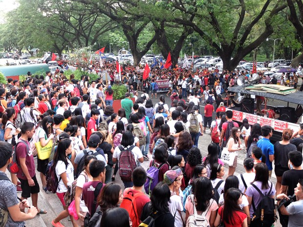 "The students going down the ""AS steps"" to join the Lumad in the Unity Walk."