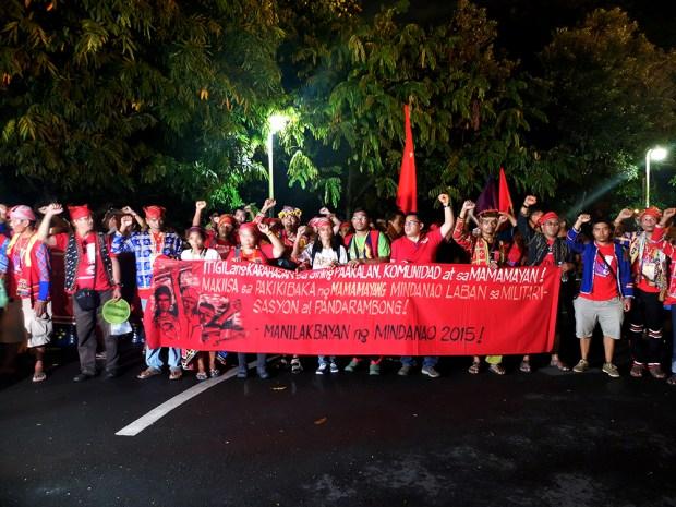 Manilakbayan 2015 arrives at UP Diliman at nightfall.