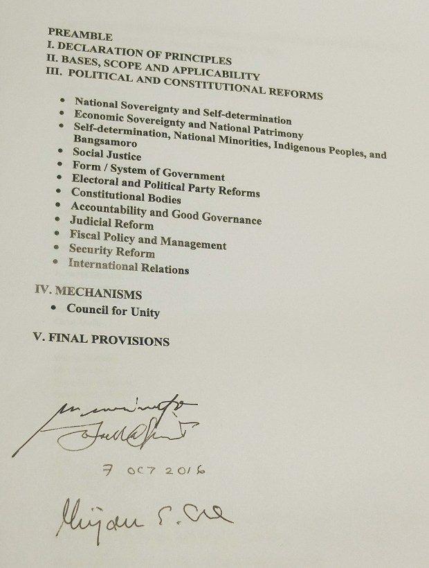 Approved outline for Political and Constitutional Reforms agenda.