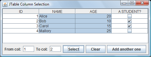 JTable Column Selection Demo
