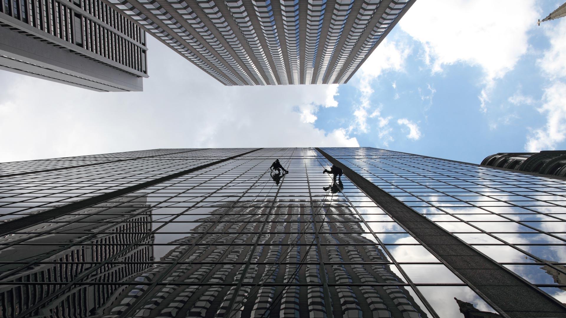 View upwards between skyscrapers