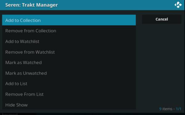 trakt manager kodi