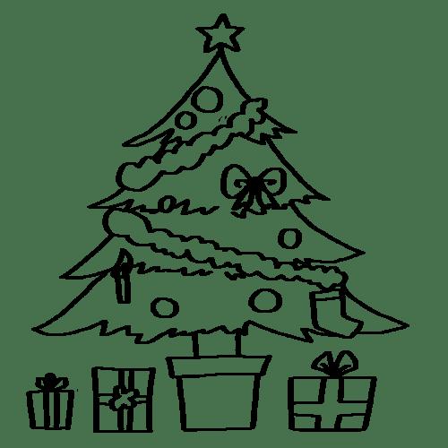 クリスマスツリー イラスト 白黒