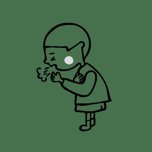 咳き込む イラスト 白黒