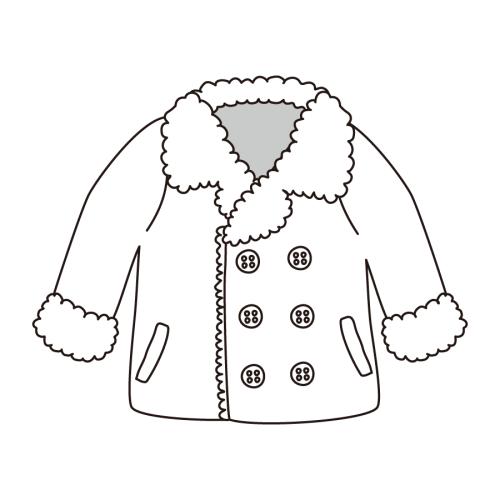 男の子 コート イラスト 白黒 モノクロ