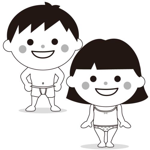 着替え 園児 かわいい イラスト フリー 無料 白黒 モノクロ