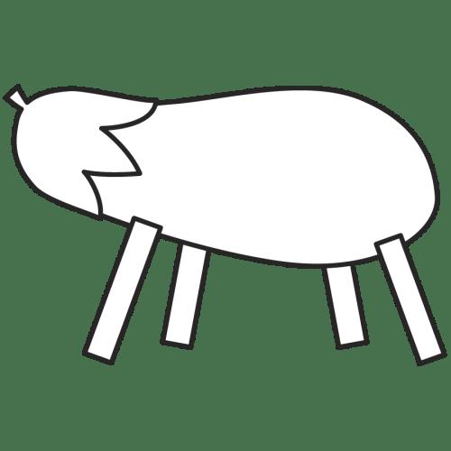 精霊馬 なす かわいい イラスト フリー 無料 白黒 モノクロ