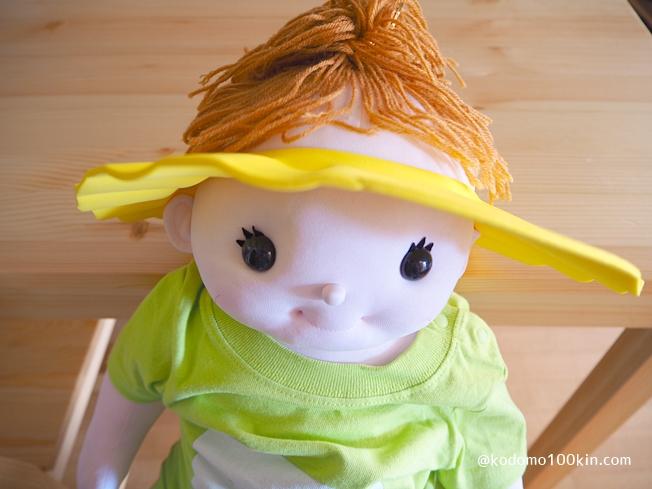 キャンドゥで買ったシャンプーハット 着用イメージ